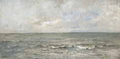 Charles François Daubigny   Seascape, Charles François Daubigny, 1876   Zeegezicht. Aanspoelende golven, in de verte vissersschepen.