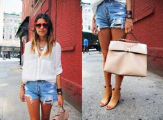 blouse: Zara, shorts: Levi's, shoes: Maison Martin Margiela, purse: Valentino, sunglasses: Dior