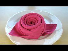 Servietten falten Rose / Blüte / Blume - Einfache DIY Tischdeko basteln - Hochzeit - YouTube