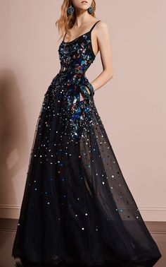 Sequined and embroidered tulle gown