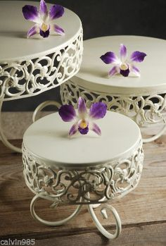 Wedding Cake Stand Set of 3 - Tiered Cake Stand  Wedding Reception - Shabby Chic