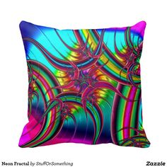 Neon Fractal Throw Pillows