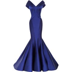 Zac Posen Stretch Duchess Off-The-Shoulder Gown (633.575 RUB) ❤ liked on Polyvore featuring dresses, gowns, long dresses, off the shoulder long dress, off shoulder gown, trumpet gown and blue gown