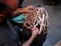 Preparing the wood and weaving an egg. It is about 22 inches high by 18 inches in diameter