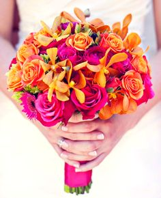 Hot Pink roses with orange mokara orchids ... Use a teal ribbon to wrap the stems. Orange orchids... I need