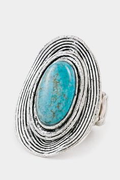 Hammered Turquoise Chunky Ring