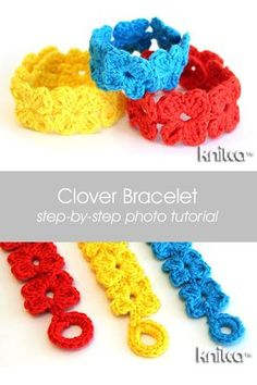 Crochet Clover Bracelet - step by step photo tutorial Crochet Bracelet Pattern, Crochet Jewelry Patterns, Crochet Accessories, Crochet Earrings, Crochet Gifts, Easy Crochet, Crochet Hooks, Free Crochet, Tutorial Crochet