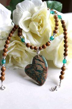 Jasper Gemstone HANDMADE Beaded Pendant necklace by JLZCreations, $25.00