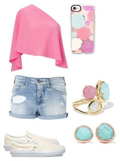"""pink white and blue"" by naviere05 on Polyvore featuring Roland Mouret, Armani Jeans, Vans, Casetify, Monica Vinader and Ippolita"