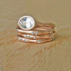 Moissanite and 14 Karat Rose Gold Oval Water Set by Silverwoods