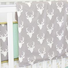 Woodlands Deer Baby Bedding   Mint and White Blanket - Jack and Jill Boutique