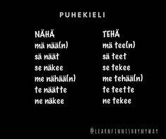 """Learn Finnish by my way on Instagram: """"Nähä = nähdä = to see Tehä = tehdä = to do  #puhekieli #slangit #finnishslangs #opisuomea #learnfinnish #suomenkieli #finnishlanguage…"""" Naha, Letter Board, Lettering, Instagram, Drawing Letters, Brush Lettering"""