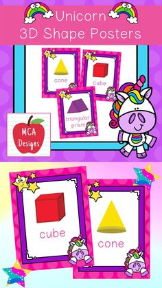 These colorful 3D shape posters are part of my Unicorn Classroom Decor collection. Each poster features various 3D shapes accented with bright colors and unicorn themed graphics! 3D Shape Posters Included: Pyramid Cube Cylinder Rectangular Prism Sphere Triangular Prism Hemisphere Octahedron #teacherspayteachers #tpt #classroommanagement #backtoschool #3dshapes #shapes Kindergarten Activities, Learning Activities, Math Resources, Classroom Resources, Triangular Prism, Shape Posters, 5th Grade Classroom, 3d Shapes, Hands On Activities