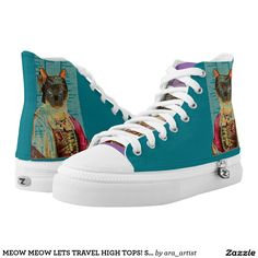 MEOW MEOW LETS TRAVEL HIGH TOPS! STYLE2 PRINTED SHOES
