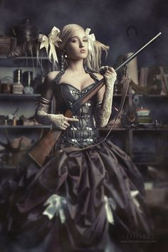 Steampunk:  Anna Morozova. Lady in a saloon with a big rifle.