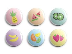Fun Retro Fruit Magnets or Pins - Kitschy Kitchen Decor - Locker Magnet - Cute Kitchen Magnets - Watermelon Pineapple Banana - Set of 6 Locker Magnets, Diy Magnets, Round Magnets, Marble Magnets, Fruit Kitchen Decor, Cute Kitchen, School Lockers, Gym Lockers, Colorful Fruit