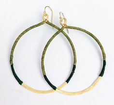 Hammered Brass Hoops in Olive & Emerald by RarewearsAustin on Etsy. $48.00, via Etsy.