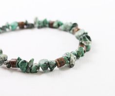 Mens bracelet: African turquoise and bamboo wood