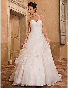 Wedding Dress A-line/Princess Sweetheart Chapel Train Organz... – USD $ 449.99