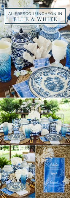 Let's set a sumptuous Summer Blue & White Table with Nautical flair white coral accents. It's luxurious and timeless, and easier than you think to create! via @jencarrollva