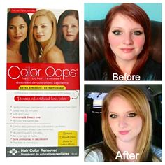Color Oops is a safe way to remove permanent and semi-permanent hair color. On your hair for 20 minutes & 20 minutes of rinsing! Ammonia-free, bleach-free, Color Oops corrects hair color by shrinking the colour molecules, allowing you to simply wash them away! Not to be used on bright colors like blue, pink, purple, or anything else like it & henna & metallic colors. Can be found at Walmart, CVS, Walgreens & other stores. - Best at home color corrector! In one day I went from dark red to…