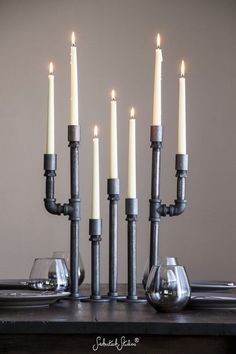 Pipe Taper Candle Holders / Set of 3 by SmokestackStudios on Etsy