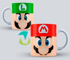 Mr Wonderful, Cute Cups, Mugs For Men, Cup Design, Ceramic Painting, Mario Bros, Super Mario, Arcade Games, Diy For Kids