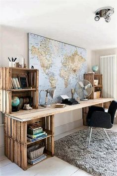 Here is this brilliant DIY wooden fruit crates idea for your lounge, study room or office. You just have to find some bigger fruit crates and assemble them over one another. You need a wooden plank for the workstation top. You can paint it or leave to its natural rustic look. This will impress your visitors.