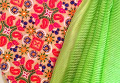 Lime green semi tussar silk saree with kutch by GiaExquisiteIndian