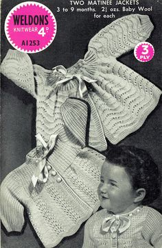 Items similar to PDF Vintage Baby Knitting Pattern Weldons Matinee Yoke Lacy Pussy Bow EASY Feather and Fan Sea Foam War Time Kitsch Baby Doll on Etsy Baby Sweater Patterns, Knit Baby Sweaters, Baby Knits, Baby Knitting Patterns, Crochet Patterns, Easy Knitting, Knitting For Kids, Knit Crochet, Crochet Hats