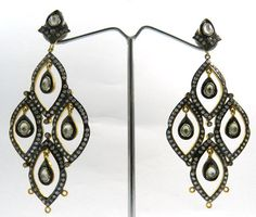 BEAUTIFUL SOLID 925 SILVER AMAZING POLKI CZ DANGLE DESIGN EARRING PAIR JEWELLERY #Magicalcollection #Chandelier