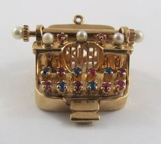 Typewriter With Stones & Pearls Mechanical 10K Gold Vintage Charm For Bracelet by SilverHillz on Etsy https://www.etsy.com/listing/256836531/typewriter-with-stones-pearls-mechanical