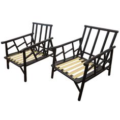 Pair of Ficks  Reed Bamboo Lounge Chairs   From a unique collection of antique and modern lounge chairs at https://www.1stdibs.com/furniture/seating/lounge-chairs/