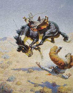 A Double Crosser, a 1946 oil on canvas by Western illustrator-artist William Robinson Leigh, displays the sense of humor beloved in works by Frederic Remington, Charles M. Russell and N.C. Wyeth, as well as in those by his contemporaries, Will James, A.R. Mitchell and Ross Santee.   — Courtesy Joslyn Art Museum, Omaha, Nebraska, Museum purchase, 1955.164 —