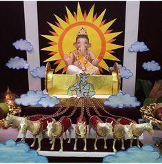Ganpati Decoration Theme, Eco Friendly Ganpati Decoration, Gauri Decoration, Mandir Decoration, Ganapati Decoration, Baby Ganesha, Ganesha Art, Thermocol Craft, Ganesh Chaturthi Decoration