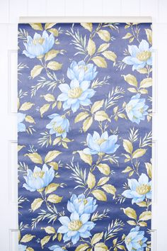 Love this navy and blue vintage wallpaper floral from the 1970s, authentic wallpaper great for art, crafts, DIY projects and more! Available by the yard in our Retro Wallpaper Etsy Store