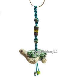 Beaded Ceramic Turtle Key Ring