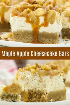 This Apple Pie Cheesecake Bar recipe is easy to make and the perfect dessert for fall. It's a delicious combination of soft cookie, creamy cheesecake and the best homemade apple pie filling! #applepiecheesecakebars #applecheesecakebars #cheesecakebarsrecipe #recipeforcheesecakebars Easy No Bake Desserts, Fall Desserts, Dessert Recipes, Easter Desserts, Birthday Desserts, Bar Recipes, Homemade Apple Pie Filling, Homemade Whipped Cream, Cheesecake Bars
