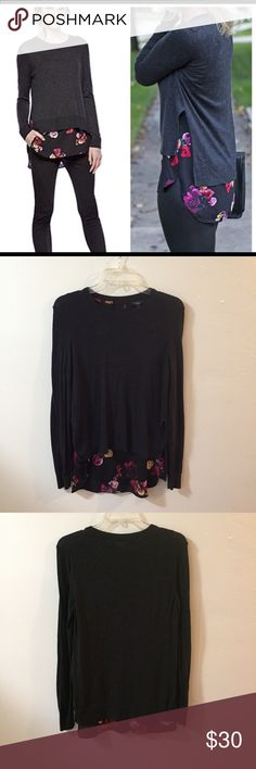 """Contemporary Grey Sweater Blouse Combo English rose print blouse and charcoal Knit Sweater  combo is an easy fashion forward style. Blouse and Sweater are sewn together. Crew neck, long sleeve Floral rose  print chiffon hem. Length 29"""" Urban Outfitters Sweaters Crew & Scoop Necks"""