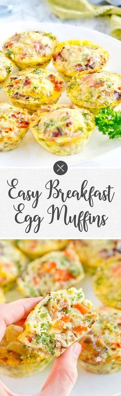 Easy Breakfast Egg Muffins - Perfect grab and go breakfast! So delicious! Bake scrambled eggs & veggies at 375 for 20 min. via @NeliHoward