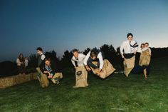 Wedding Day Sack Race!!! Big kids and competitive groomsmen will love this!  Perfect for great photos and memorable moments.  Hire from Box and Cox Vintage Hire in Cornwall. Cornish wedding, Cornwall wedding, lawn games, garden games