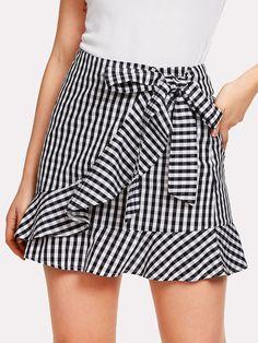 Ruffle Trim Knot Gingham Skirt -SheIn(Sheinside)
