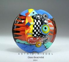 Dichroic hearts glass lampwork focal bead-  37mm Focal bead- lampwork by Astrid Riedel