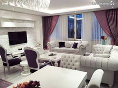 White, purple, curtain, salon - Home And Garden Living Room Themes, Living Room Decor Cozy, Living Room Sofa, Sala Vintage, Interior Exterior, Interior Design, Large Sectional Sofa, Drawing Room Furniture, Mediterranean Home Decor