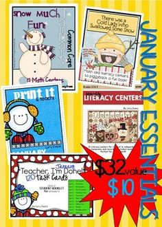 """Here is a file full of January Essentials:Math StationsLiteracy Centers""""Teacher, I'm Done"""" Task CardsJanuary PrintablesThere Was An Old Lady Who Swallowed Some SnowThis file is worth $32 but I'm offering it to my followers for $10Thank you for a wonderful 2014!!"""