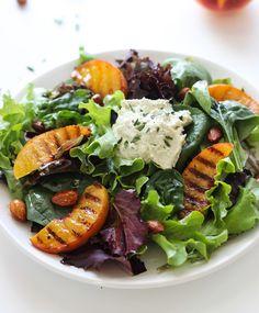 Grilled Peach Salad with Cashew Herb Cheese Recipe - RecipeChart.com