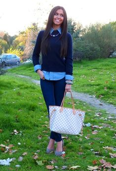 denim shirts are gorgeous under chunky sweaters! and a pair of cute jeans! The louis vuitton damier azur neverfull in mm is hot!!! I have the same one but in the monogram print ;)