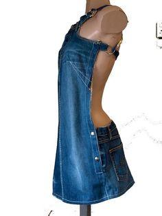 Jeans dress dokjurk loose fit a line shape etsy – BuzzTMZ Refashion Dress, Diy Clothes Refashion, Gilet Jeans, Vetements Shoes, Denim Ideas, Recycle Jeans, Recycled Denim, Old Jeans, Denim Outfit