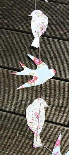 Handmade paper bird garland holiday decor inspiration - Vorlage vogel ...