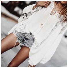 White Peasant Blouse - Boho Style